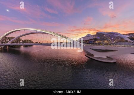France,Rhone,Lyon,the bridge Raymond Barre above the Rhône connecting the district of the Confluence district south - Stock Photo