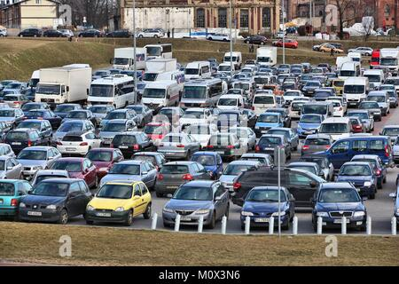 KATOWICE, POLAND - MARCH 5, 2017: Full car park for an event in International Convention Centre in Katowice, Poland. - Stock Photo