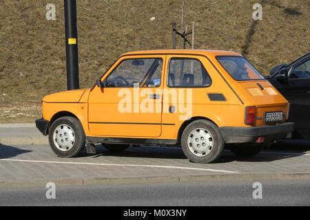 KATOWICE, POLAND - MARCH 5, 2017: Retro Fiat 126P car parked in Katowice, Poland. Polski Fiat 126P is an icon of - Stock Photo