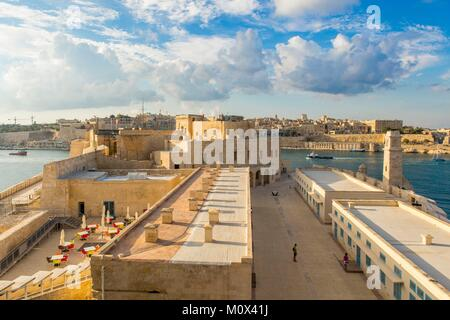 Malta,Valletta,listed as World Heritage by UNESCO,the Three Cities,Birgu or Vittoriosa,from fort Sant Angelo with - Stock Photo