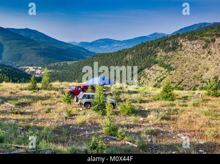 Campsite at Brewer Creek Forest Service Road, Purcell Mountains, near Invermere, British Columbia, Canada - Stock Photo