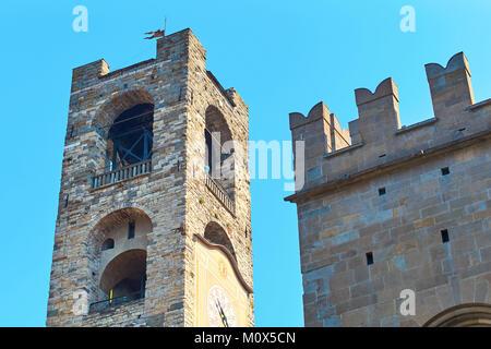 Beautiful Civic Tower Campanone in Bergamo, Italy - Stock Photo