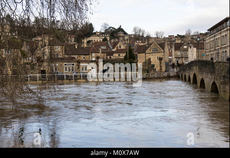 The swollen river Avon in Bradford on Avon, Wiltshire, England, January 22nd 2018 - Stock Photo