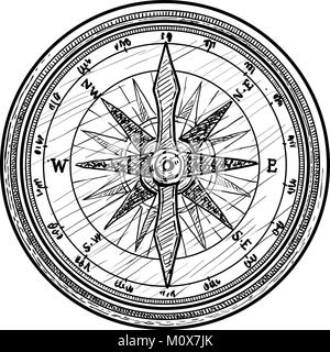 Compass illustration, drawing, engraving, ink, line art, vector - Stock Photo