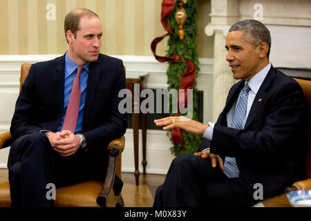 United States President Barack Obama, right, meets Prince William, the Duke of Cambridge, in the Oval Office of - Stock Photo
