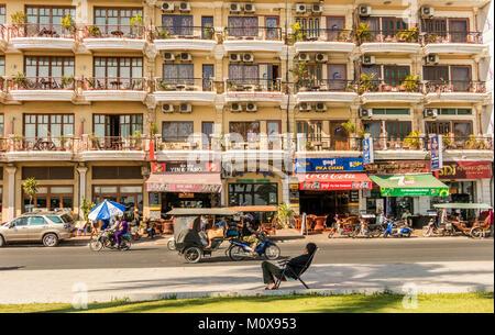 Preah Sisowath street Riverside Phnom Penh Cambodia - Stock Photo