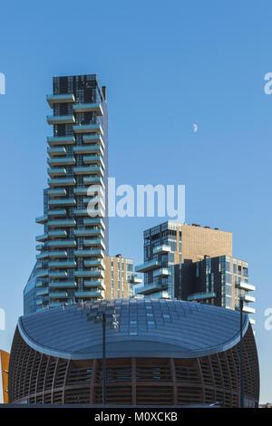 view of the porta nuova skyline from piazza gae aulenti, milan, italy - Stock Photo