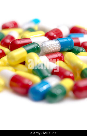 A collection of pills and tablets - Stock Photo
