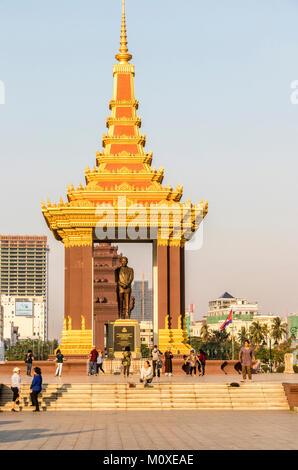 Statue of King Father Norodom Sihanouk, Phnom Penh Cambodia - Stock Photo