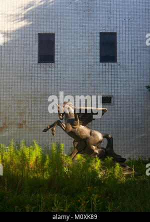 Chollima horse statue in Songdowon international children's camp, Kangwon Province, Wonsan, North Korea - Stock Photo