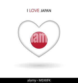 Love Japan symbol. Flag Heart Glossy icon vector illustration isolated on gray background eps10 - Stock Photo