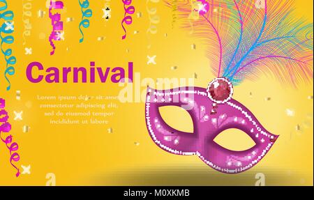 Bright carnival poster, invitation, greeting card. Masquerade Template for your design with mask feathers. Venetian - Stock Photo