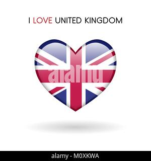 Love United Kingdom symbol. Flag Heart Glossy icon vector illustration isolated on gray background eps10 - Stock Photo
