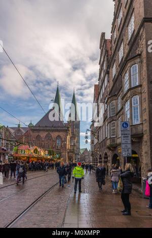 Christmas market, Marktplatz in the city centre, Bremen, Germany, Europe - Stock Photo
