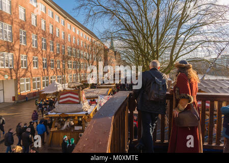View along the Schlachte, the Weser riverside, with the traditional Christmas market, Bremen, Germany, Europe - Stock Photo