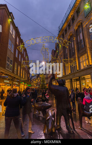 Shopping in the Soegestrasse, Soege Street, at Christmas time, Bremen, Germany, Europe - Stock Photo