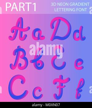 Neon 3D Typeset with Rounded Shapes. Tube Hand-Drawn Lettering. Font Set of Painted Letters. Night Glow Effect or - Stock Photo
