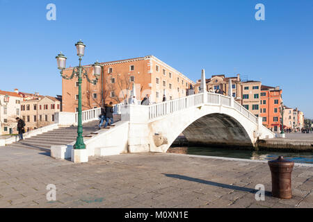 Ponte S Biasio over the Arsenal Canal, Rio de l'Arsenale, with the Naval History Museum behind, Riva Ca di Dio, - Stock Photo