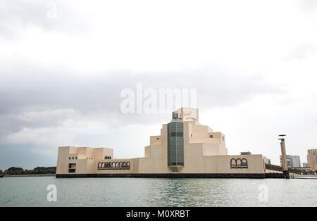 Cityscape of Doha, Qatar from a sea - Stock Photo