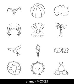 outlined icons decoration summer season - Stock Photo