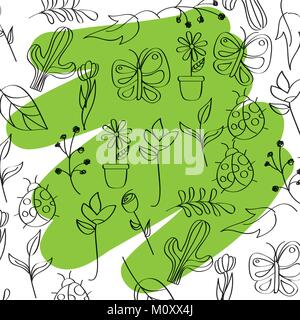outlined icons seasonal spring with green brush stroke - Stock Photo