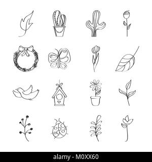 outlined icons decoration spring season - Stock Photo