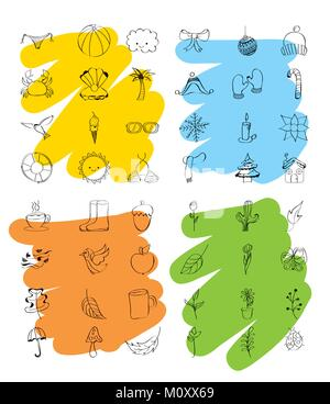 outlined icons decoration spring summer autumn winter weather season - Stock Photo