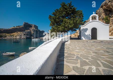 Saint Pauls bay chapel near Lindos, Rhodes Island. - Stock Photo