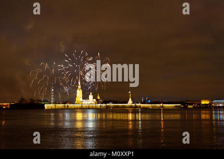 Firework on the Neva River at night. Peter and Paul fortress. Saint Petersburg, Russia - Stock Photo