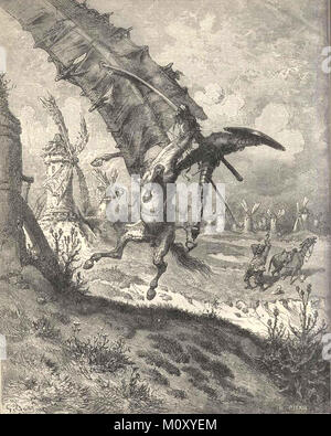 Don Quijote (Don Quixote) Illustration by Gustave Doré, depicting the famous windmill scene. - Stock Photo