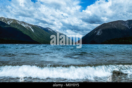 Breathtaking views at a beautiful Lake. Rough seas and stormy skies draw the eye to a professional image. The water - Stock Photo