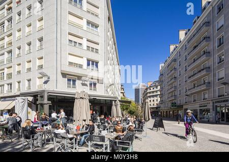France,Savoie,Chambery,the old town,place of Genève and street of Maistre - Stock Photo