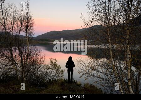Norway,Oppland,Vaga,Jotunheimen National Park,the lake of Ovre Sjodalsvatnet at sunset - Stock Photo