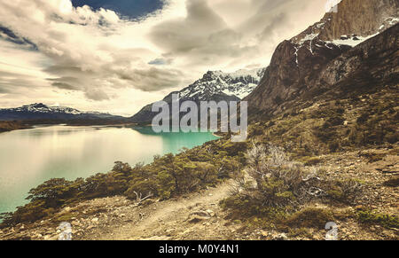 Torres del Paine National Park, color toned picture, Patagonia, Chile. - Stock Photo