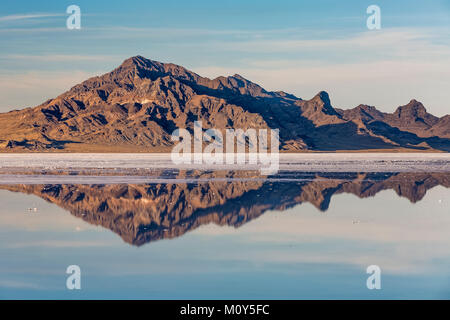 Silver Island Range reflecting in salty water at the Bonneville Salt Flats, which is BLM land west of the Great - Stock Photo