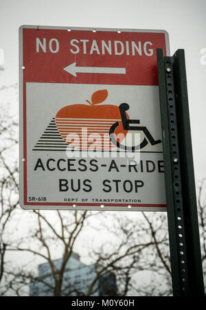 A no standing access-a-ride bus stop sign is seen in the Chelsea neighborhood of New York on Tuesday, January 23, - Stock Photo