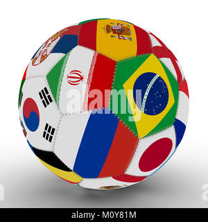 Soccer ball with the color of the flags of the countries participating in the World, in the middle of Iran, Brazil - Stock Photo