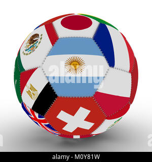 Soccer ball with the color flags of the countries participating in the Cup, in the middle of Argentina, 3d rendering - Stock Photo