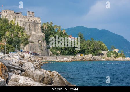 Forte Mare fortress and ruins of citadel in Herceg Novi city on the Adriatic Sea coast in Montenegro - Stock Photo