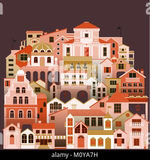 Colorful townhouses background. Vector cityscape with buildings. - Stock Photo