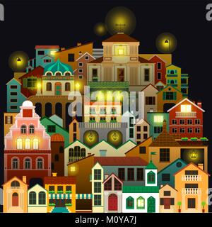 Colorful town buildings at night. Vector cityscape drawing on black background. - Stock Photo