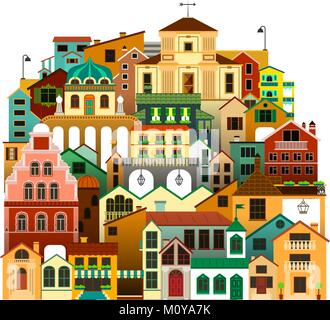 Vector isolated colorful townhouses. Urban architecture illustration. - Stock Photo