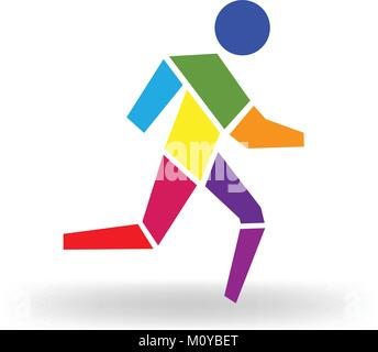 Sport man colorful icon figure logo vector - Stock Photo