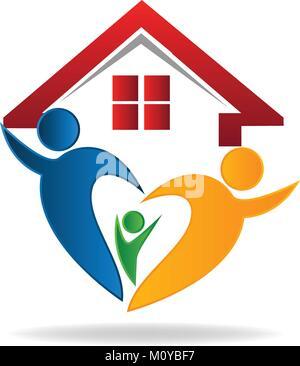 House and happy family logo - Stock Photo
