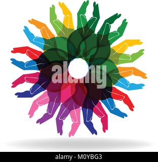 Hands colorful diversity people help concept logo vector - Stock Photo