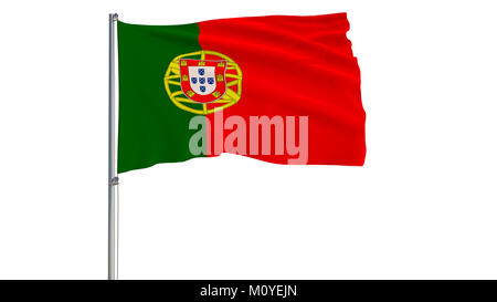 Isolate flag of Portugal on a flagpole fluttering in the wind on a white background, 3d rendering - Stock Photo