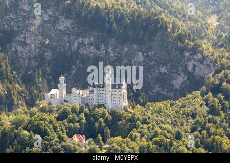 Aerial view of Neuschwanstein Castle, Bavaria, Germany - Stock Photo