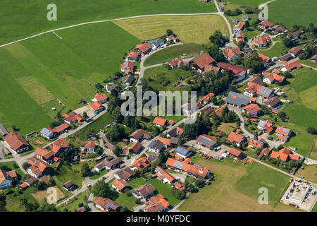 Aerial view of houses with solar panels in Urspring 86989 Steingaden, Bavaria, Germany - Stock Photo