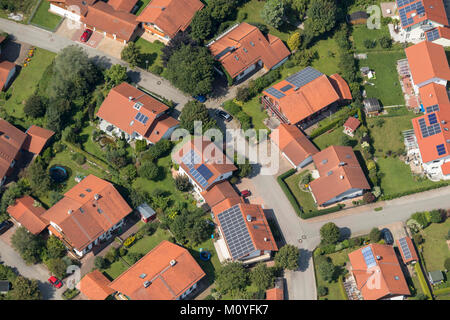 Aerial view of houses with solar panels, Calvistraße, 86971 Peiting, Bavaria, Germany - Stock Photo