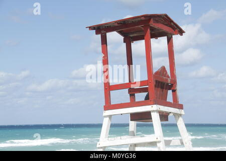 This is a picture of a lifeguard hut in Varadero, Cuba backed by a clear blue Caribbean sky - Stock Photo